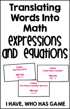 "This is an engaging ""I have, who has"" game that is the perfect activity to help students learn and enjoy translating words into math/writing algebraic expressions and equations. This is an activity to get all students involved at the same time! This is a great activity for 6th grade, 7th grade, and 8th grade. Middle school students love it!"