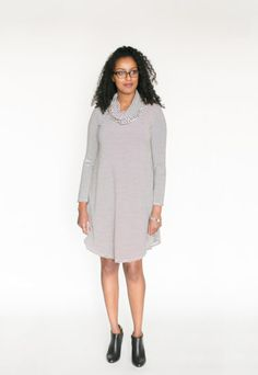 *pre-sale* Cowl Neck Dress – charcoal/cream stripe (ships in 2 to 4 weeks)  $98.00    All the comfort and style of our swing dresses plus a lovely cowl neck! This brand new dress is going to be a hit for sure! We have changed the bottom hemline and made the front and back longer than the sides to create a nice look with tall boots or your favourite short booties (we love to wear ours with our Poppy Barley shoes).