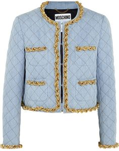 Moschino Chain-trimmed quilted denim jacket