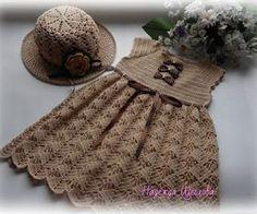 Crochet brown dress for girl