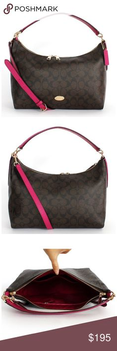 """Coach Cranberry Celeste Hobo w/ Detachable Strap 100% new with tags COACH Celeste Hobo in Cranberry color. Signature colored canvas with leather trim. Inside zip and multi functioning pockets. Approx 14"""" length / 8.5"""" height / 5"""" strap drop / detachable longer strap included. Zip top closure, fabric lining and gold hardware. I do not trade please do not ask. Price negotiable through offer feature only. Coach Bags Hobos"""