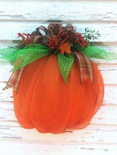 Deco Mesh Pumpkin Wreath Autumn Pumpkin Wreath Halloween Pumpkin Wreath Thanksgiving Wreath Fall Decor  Orange Pumpkin Happy Halloween