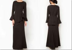 All black for Raya 2015: black-peplum-baju-kurung