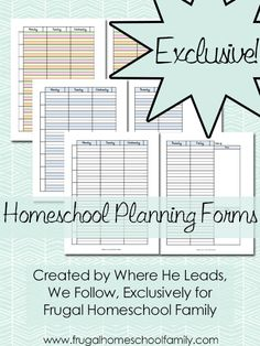 Frugal Homeschool Family Exclusive! FREE Homeschool Planning Forms