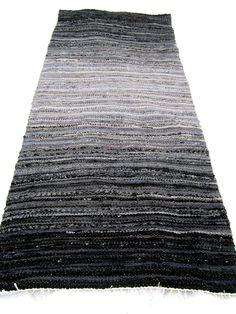 guna mikelsone - grey rock: hand-woven recycled rag rug Braided Wool Rug, Rock Hand, Gray Rock, Birches, Rag Rugs, Furniture Upholstery, Gradient Color, Soft Furnishings, Seas