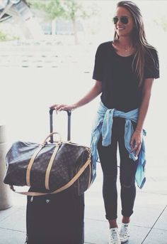 black + chambray + LV airport outfit