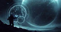 Illustration future concept art sci-fi science fiction Futuristic Space Ship Hologram
