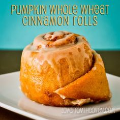 Pumpkin Whole Wheat Cinnamon Rolls With Vanilla Maple Glaze.  Recipe at Love From The Oven