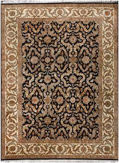 Jaipur Fl Hand Knotted Black Wool Rug 19201 9x12