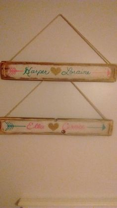 $15 Hanging wall name plaques, refurbished wood, cute for boy/girl room