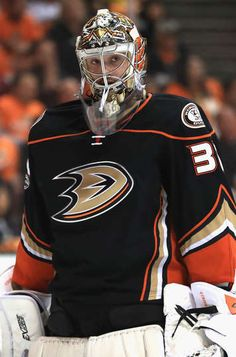 ANAHEIM, CA - APRIL 26: John Gibson #36 of the Anaheim Ducks looks on in the second period in Game One of the Western Conference Second Round during the 2017 NHL Stanley Cup Playoffs against the Edmonton Oilers at Honda Center on April 26, 2017 in Anaheim, California. (Photo by Sean M. Haffey/Getty Images)
