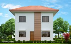 Elisa – Four Bedroom Compact Two Storey House Design 2 Story House Design, Small House Design, Bed Design, Modern Bungalow House, Two Storey House, Ground Floor Plan, Built In Cabinets, Home Design Plans, Pinoy