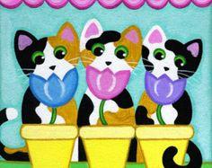 Five Tuxedo CATS in Pink BATHTUB Folk Art PRINT from by thatsmycat