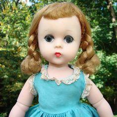 1956 Lissy Doll in Turquoise Cotton Dress Blonde Braids Madame Alexander #MadameAlexander