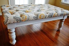Furniture, Reupholstered DIY Square Tufted Ottoman Bench With Fabric Cover And Flower Pattern Plus Wooden Base Painted With White Color Ideas ~ DIY Tufted Ottoman