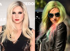 Ke$ha debuts rainbow hair!