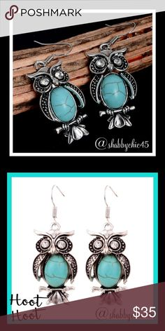 """Boho Antique Owl Earrings Boho retro chic style owl earrings with a turquoise resin stone and glass crystal eyes. Silver plated zinc alloy. Earring length approximately 2"""".  Smoke free home. Open to reasonable offers unless marked as firm. Happy Poshing. Boutique Jewelry Earrings"""