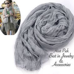 Crinkle Scarf Wrap Long crinkle scarf wrap. Soft shawl. Color gray. New! Boutique Accessories Scarves & Wraps