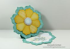 """Krafting Kreations: Sunshine Flower Card Tutorial daydream medallion, Elements of Style, A Round Array, Beautiful Birthday ink: Daffodil Delight, Pool Party, Island Indigo Accessories: Floral Frames Framelits, Stampin' Trimmer, Simply Scored, 1-1/4"""" Scalloped Circle Punch, 7/8"""" Scalloped Circle Punch, Stampin' Dimensionals, Stampin' Sponge, Multipurpose Liquid Adhesive, Small Heart Punch"""