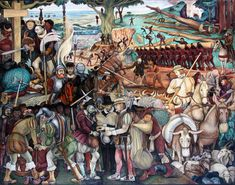 Diego Rivera - Mural: The Arrival of Cortés, Palacio Nacional de Mexico - The Arrival of Cortés. Love this painting!