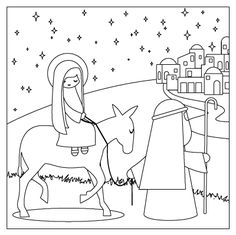 Free Printable Coloring Page of Nativity Story from the Nativity Advent Calendar kit. Fourth step in the countdown to Christmas, The Journey.