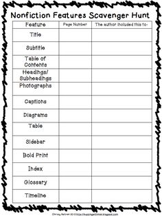 Buzzing with Ms. B: New Unit: Nonfiction Features! The font is cutesy but I think we could pull a text for my kids' grade level and still use this.