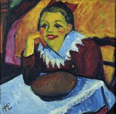 MAX PECHSTEIN  Rotes Mädchen am Tisch (Red Girl at a Table, 1910)