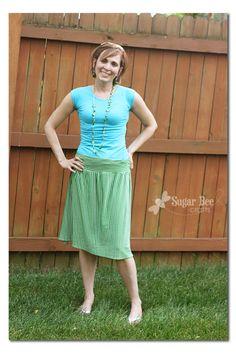 Easy Knit Skirt Tutorial ~ Sugar Bee Crafts
