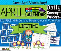 Great for Preschool Calendar Time! This word of the day April calendar is now EDITABLE which makes this a lifetime calendar!  This calendar incorporates both Math and ELA. Each day has a April vocabulary word in addition to a pattern. We have also added an interactive cut and paste student calendar. There is also a teacher guide for activities.