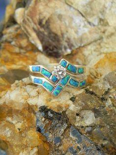 Opal Native American Wedding Ring Set By Hollywoodrings On Etsy 145 00 Western Rings