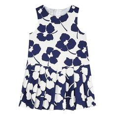 Designer girl's navy floral dropped waist dress - Kids - Debenhams.com