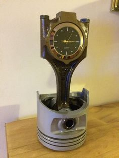 Piston Clock, Desk Clock, Man Cave Petrol Head Steam Punk Office Clock. | eBay