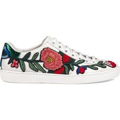 Gucci Ace embroidered sneaker ($650) ❤ liked on Polyvore featuring shoes, sneakers, white, leather low top sneakers, leather shoes, white sneakers, low profile sneakers and leather sneakers