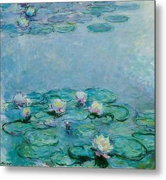 Impressionism Canvas Print - Water Lilies by Claude Monet Water Lilies Painting, Lily Painting, Water Lillies Monet, Painting Art, Painting Lessons, Monet Paintings, Impressionist Paintings, French Paintings, Indian Paintings