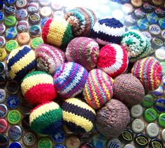 Free Knitting Pattern for Hacky Sack - Gillian Kratzer's All Good Hacky Sack is super easy and quick. Fill with plastic beads or beans for a fast toy. A great stash buster!