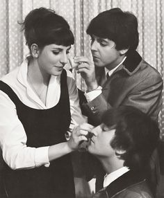 john & paul putting on their makeup