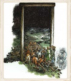 """Through the stable door in The Last Battle: """"'Yes,' said Queen Lucy. 'In our world too, a Stable once had something inside it that was bigger than our whole world.'"""""""