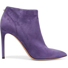 Valentino | purple-suede pointed-toe high-heeled ankle bootie