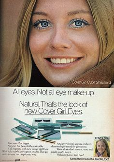Blue eye shadow still has a residual bad beauty rep thanks to ads like these. Here's Covergirl blue eye shadow from just last week at the Todd Lynn fashion show. 1970s Makeup, Vintage Makeup Ads, Retro Makeup, Blue Makeup, Vintage Beauty, Vintage Ads, Retro Ads, Vintage Vanity, Vintage Style