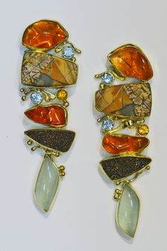 Mexican opal earrings with cherry jasper, aquamarine, drusy, spessartite and topaz in 22k and 18k gold. Jennifer kalled