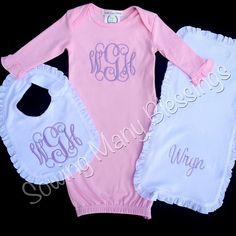 Baby girl gown, bib, burp cloth set