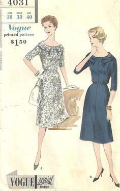 Vogue 4031 Dress sz 18 Vintage 1959 Pattern by designersreserve