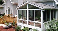 All Season Porch, Four Season Sunroom, Small Sunroom, Sunroom Office, Sunroom Decorating, Sunroom Ideas, Sunroom Windows, Sunroom Addition, Patio Enclosures