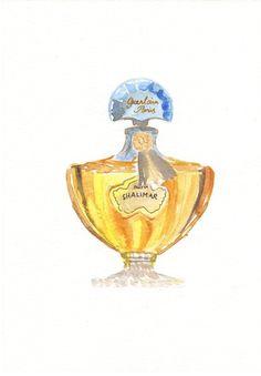 Perfume bottle illustration - Guerlain Shalimar Parfum. $30.00, via Etsy. | Série perfumes com baunilha: Shalimar.