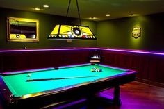 LED lighting - Purple flexible LED light strips in molding and LED recessed can lighting, and lighting over pool table Led Recessed Lighting, Strip Lighting, Home Lighting, Room Lights, Led Light Strips, Led Strip, Flexible Led Light, Luminaire Led, Billiard Room