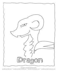 Cartoon Dragon Coloring Pages at www.wonderweirded-creatures.com/cartoon-dragon-coloring-pages.html , Fantasy Coloring Pages FREE to print