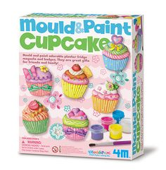 Little crafters make and decorate super cute cupcake magnets or pins with molds, plaster, and paints in this creative kit. [4M, STEAM activity, educational toy, kids arts and crafts, homeschool, preschool, elementary]