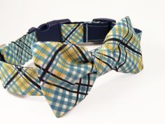 Plaid  Dog Collar and Bow Tie, The Apprentice,  Adjustable Sizes small, medium, large, and extra large dogs by colormehappycollars. Explore more products on http://colormehappycollars.etsy.com