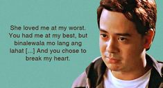 10 Hugot Lines from Pinoy Movies Memes Pinoy, Filipino Memes, Hugot Lines Tagalog Love, Hugot Quotes Tagalog, Filipino Words, Pinoy Movies, Love Quotes With Images, Qoutes About Love, Movie Lines