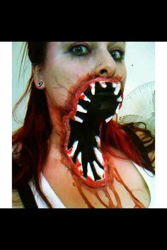 Zombie face paint.